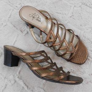 LifeStride bronze metallic open toe heels 9
